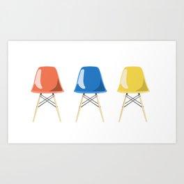Mid-Century Chairs Art Print