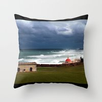 puerto rico Throw Pillows featuring San Juan, Puerto Rico by Eleanor Kipping