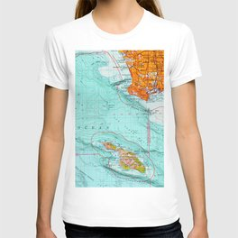 Long Beach colorful old map T-shirt