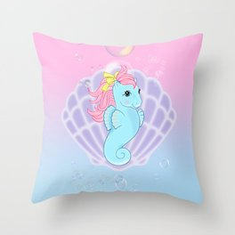 g1 my little pony seapony Throw Pillow