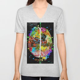 Human Brain Black Unisex V-Neck