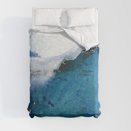 In the Surf: a vibrant minimal abstract painting in blues and gold Comforters