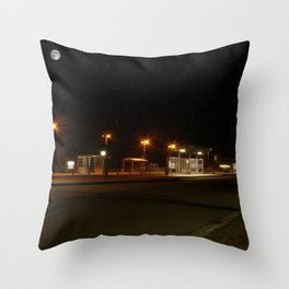 Train and Bus stop in Germany by night Throw Pillow