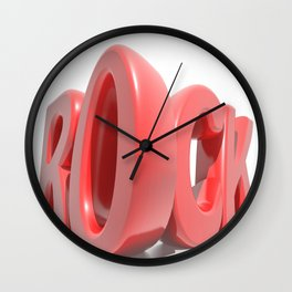 Rock in red letters on white background Wall Clock