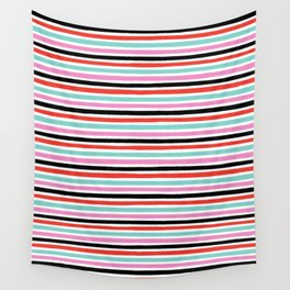 Abstract, Stripes, Red, Pink, Blue, Black, Pop art, Minimal, Pattern, Modern art Wall Tapestry