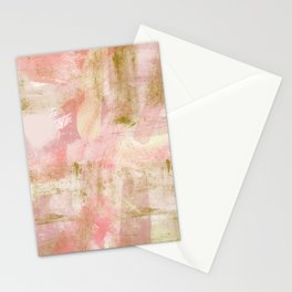 Rustic Gold and Pink Abstract Stationery Cards