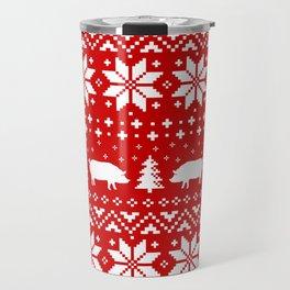Pig Silhouettes Christmas Sweater Pattern Travel Mug