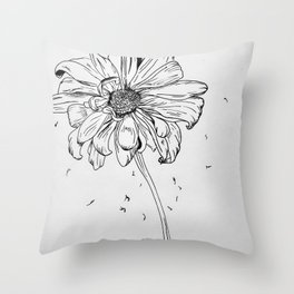 Ink Daisy Throw Pillow