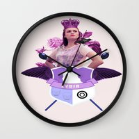 lydia martin Wall Clocks featuring lydia by Papa-Paparazzi