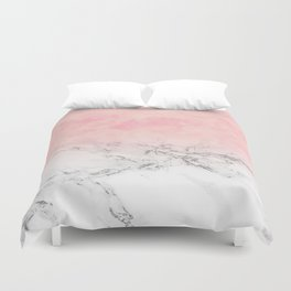 Modern blush pink watercolor ombre white marble Duvet Cover