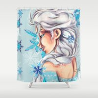 frozen elsa Shower Curtains featuring Elsa - Frozen by MissMachineArt