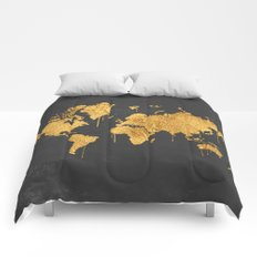 Gold World Map Comforters