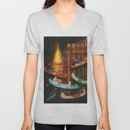 'Fete on the Water with Friends' painting portrait by Florine Stetthimer Unisex V-Neck