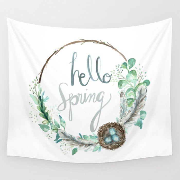 Hello Spring Eucalyptus Wreath with Nest Wall Tapestry