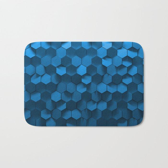 Blue Hexagon Abstract Pattern Bath Mat By Shilldesign