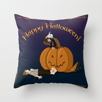 the hobbit Throw Pillows featuring Hobbit Halloween by wolfanita