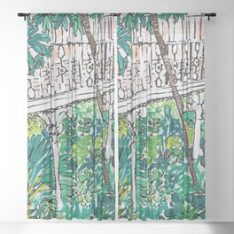 Kew Gardens Jungle Botanical Painting Greenhouse Sheer Curtain