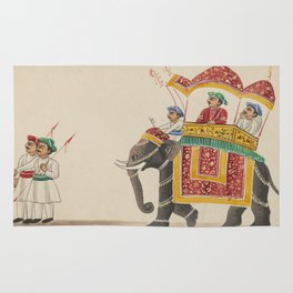 Decorated Indian Elephant with a Canopied Howdah Rug