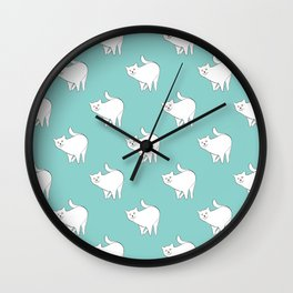 Cute Cat Pattern | Blue Wall Clock