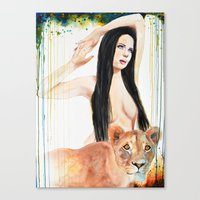 girl power Canvas Prints featuring Girl Power by Beth Michele
