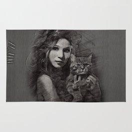 donna con gatto Rug