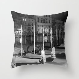 Gondolas in the night Venice Italy black and white Throw Pillow