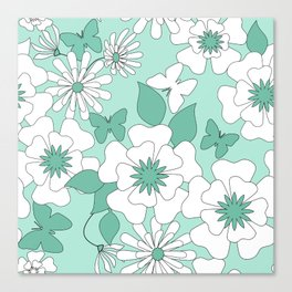 Turquoise floral pattern . Canvas Print