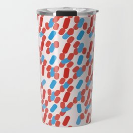 80's Style Red and Blue Dashes Travel Mug