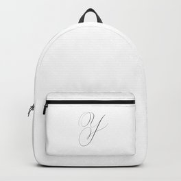 Letter Y in Calligraphy. Calligraphed letter Y. Handlettered Y - Handlettering. Majuscule, Capital letter. Cursive writing. Black and White wall art. Art Print. Backpack