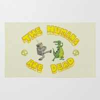 bender Area & Throw Rugs featuring The Humans are Dead by Mirco
