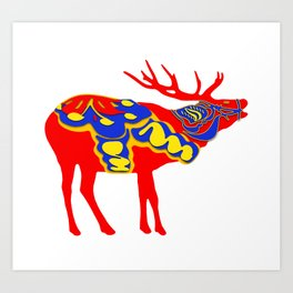 Graphic Dala Elk Art Print