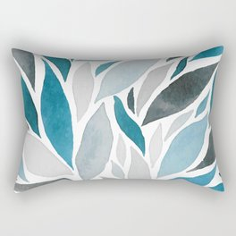 Natural Leaves Moving Water Abstract Watercolor Rectangular Pillow