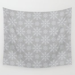 Snowflakes on Gray Wall Tapestry