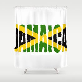 Jamaica Font with Jamaican Flag Shower Curtain