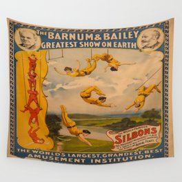 Vintage poster - Circus Trapeze Act Wall Tapestry