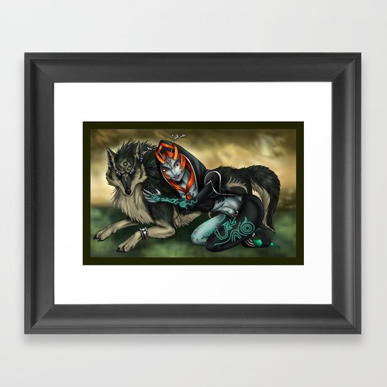 Link and Midna Framed Art Print