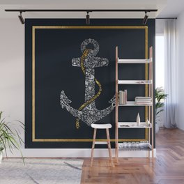 Anchor in Gold and Silver Wall Mural