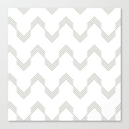 Simply Deconstructed Chevron Retro Gray on White Canvas Print