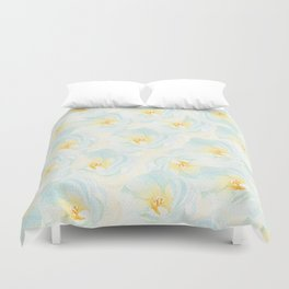 Watercolor hand painted pastel blue yellow floral pattern Duvet Cover