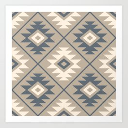 Aztec Symbol Stylized Pattern Blue Cream Sand Art Print