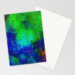 Awaken - Blue, green, abstract, textured painting Stationery Cards