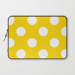 Large Polka Dots - White on Gold Yellow Laptop Sleeve