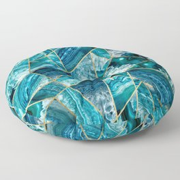 Turquoise Navy Blue Agate Black Gold Geometric Triangles Floor Pillow