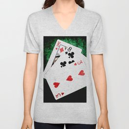 Blackjack Card Game, 21 Count, King Eight Three Combination Unisex V-Neck