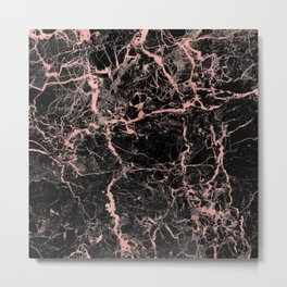 Marble Rose Gold - Someone Metal Print