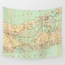 Vintage Road Map of Long Island (1905) Wall Tapestry