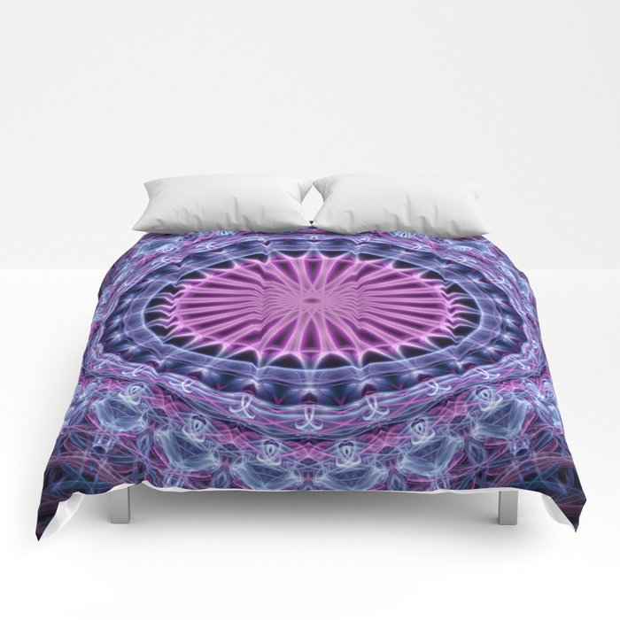 Pretty mandala in blue and violet tones Comforters