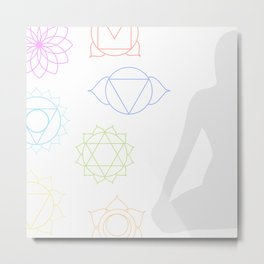 Chakra icons in respective colors with meditating person Metal Print