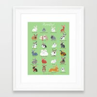 bunnies Framed Art Prints featuring BUNNIES by DoggieDrawings