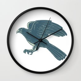 Northern Goshawk Scratchboard Wall Clock